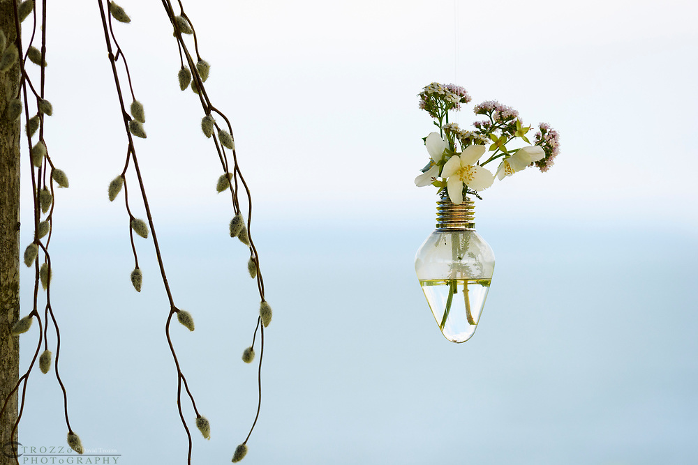 Old lightbulbs used as a decorative vase with wildflowers.