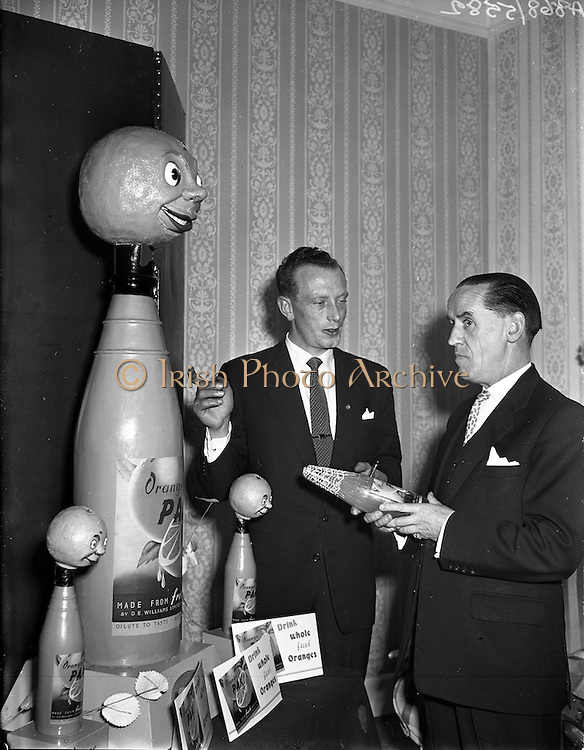 """19/11/1958<br /> 11/19/1958<br /> 19 November 1958<br /> D.E. Williams Ltd. (Tullamore) Reception to promote """"Orange Pak"""" a dilute orange drink made by the company at Room 56 Royal Hibernian Hotel, Dublin."""