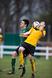 Edinburgh University&rsquo;s Dan Ward and Edinburgh City&rsquo;s Gordon Donaldson. <br /> Edinburgh University 0 v 1 Edinburgh City, Scottish Sun Lowland League game played 14/3/2015 at The University of Edinburgh&rsquo;s Peffermill playing field.