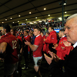 Lions head coach Warren Gatland applauds his team after the 2017 DHL Lions Series rugby union match between the NZ Maori and British & Irish Lions at Rotorua International Stadium in Rotorua, New Zealand on Saturday, 17 June 2017. Photo: Dave Lintott / lintottphoto.co.nz