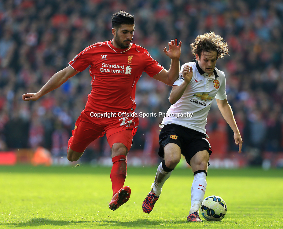 22nd March 2015 - Barclays Premier League - Liverpool v Manchester United - Emre Can of Liverpool battles with Daley Blind of Man Utd - Photo: Simon Stacpoole / Offside.