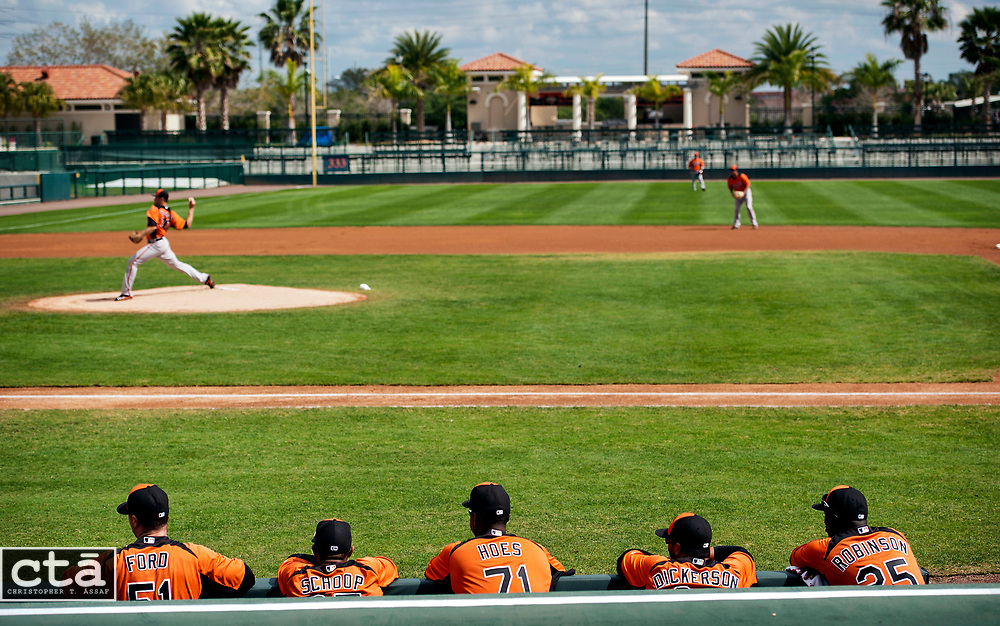 The start of the Orioles first intrasquad game of spring training is played in Ed Smith Stadium at the team's spring training facility in Sarasota, Fla.