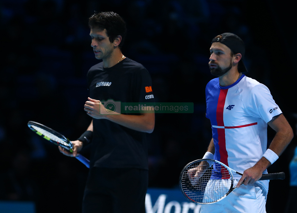 November 17, 2017 - London, England, United Kingdom - Lukaez Kubut (POL) and Marcelo Melo (BRA) (BRA) against Jamie Murray (GBR) and Bruno Soares during Day six of the Nitto ATP World Tour  Finals played at The O2 Arena, London on November 17 2017  (Credit Image: © Kieran Galvin/NurPhoto via ZUMA Press)