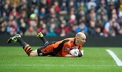 BIRMINGHAM, ENGLAND - Easter Sunday, March 31, 2013: Aston Villa's goalkeeper Bradley Guzan in action against Liverpool during the Premiership match at Villa Park. (Pic by David Rawcliffe/Propaganda)