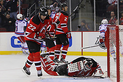 Jan 31; Newark, NJ, USA; New Jersey Devils goalie Martin Brodeur (30) reacts after a goal by the New York Rangers during the first period at the Prudential Center.