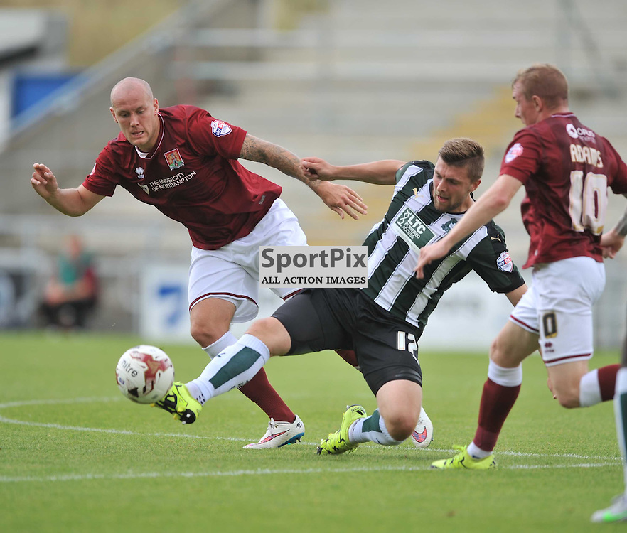 Plymouths Ryan Brunt, Battles with Northamptons Ryan Cresswell, Northampton Town v Plymouth Argyle, Sky Bet League 2, Saturday 22/8/2015