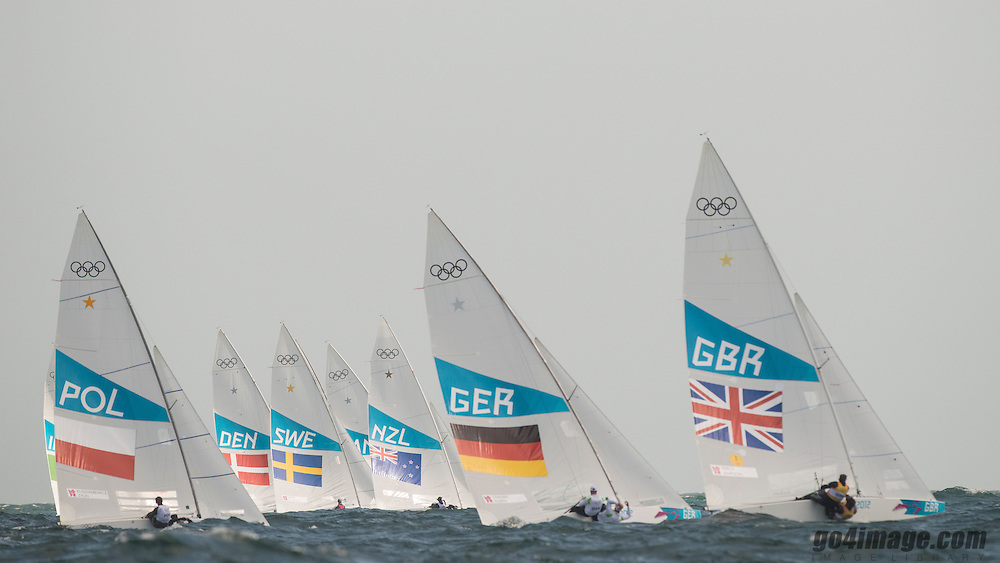2012 Olympic Games London / Weymouth<br /> Star fleet after the start