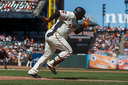 SAN FRANCISCO, CA - SEPTEMBER 01: Pablo Sandoval #48 of the San Francisco Giants runs to first base after hitting a ground ball against the San Diego Padres during the seventh inning at Oracle Park on September 1, 2019 in San Francisco, California. The San Diego Padres defeated the San Francisco Giants 8-4. (Photo by Jason O. Watson/Getty Images) *** Local Caption *** Pablo Sandoval