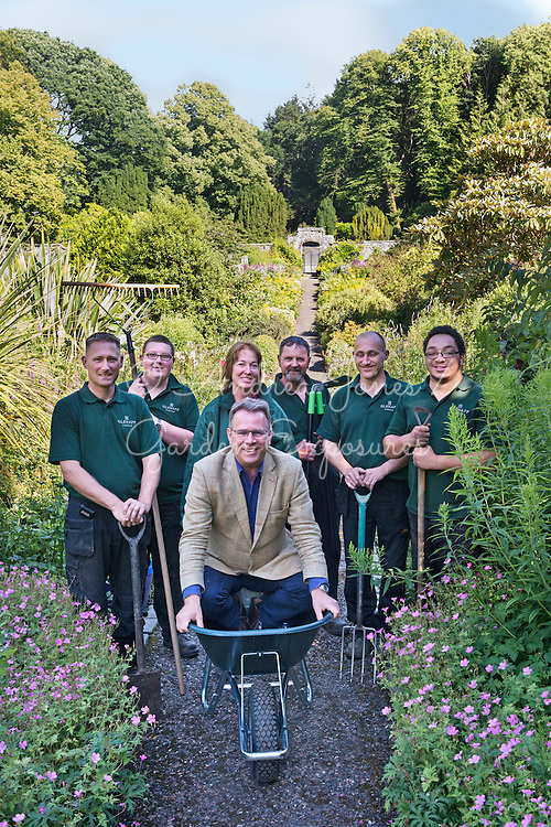 Owner, Paul Szkiler with the hotel's grounds and gardens staff including Head Gardener, Annmaree Mitchell in the Walled Garden at Glenapp Castle, Ayrshire, Scotland