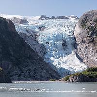 A glacier in its self-made valley, near the Holgate Glacier in Kenai Fjords National Park, Alaska