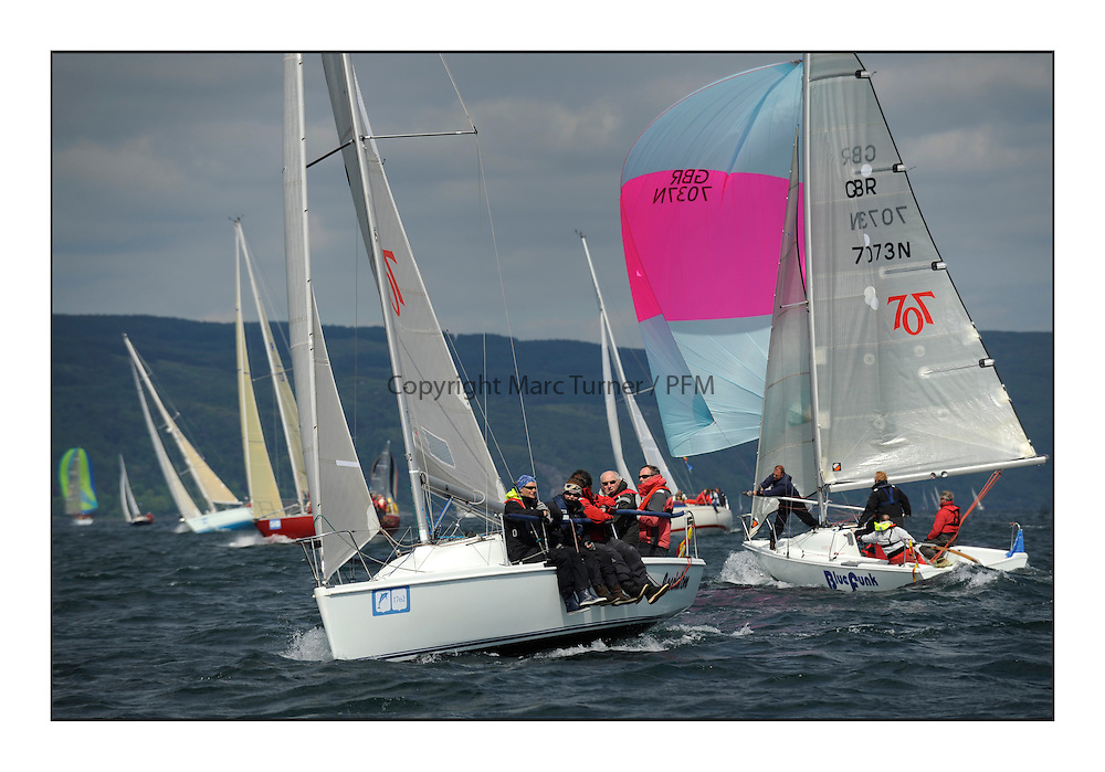 Brewin Dolphin Scottish Series 2012, Tarbert Loch Fyne - Yachting..Perfect conditions for day 2 of racing...707's GBR7115N, Cacciatore, John Robertson, RForthYC/CCC, Hunter 707...