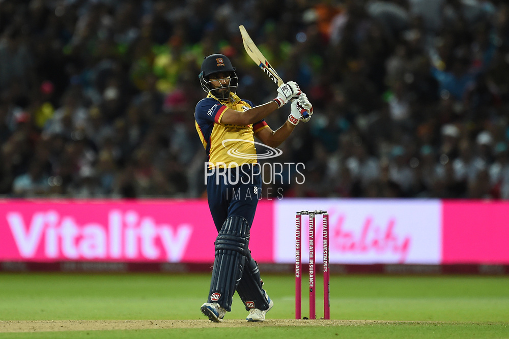 Ravi Bopara of Essex Eagles hits a six  during the Vitality T20 Finals Day 2019 match between Worcestershire County Cricket Club and Essex County Cricket Club at Edgbaston, Birmingham, United Kingdom on 21 September 2019.