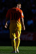 MADRID, SPAIN- MAY 12: Lionel Messi of FC Barcelona looks on during the Liga BBVA between Atletico de Madrid and FC Barcelona at the Vicente Calderon stadium on May 12, 2013 in Madrid, Spain. (Photo by Aitor Alcalde Colomer).