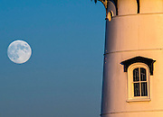 Moon, Edgartown lighhouse, Edgartown, Martha's Vineyard, MA.