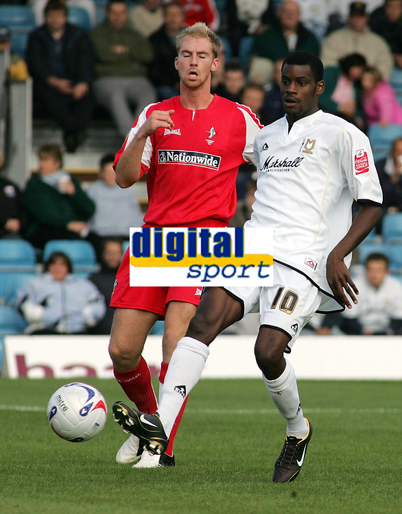 Photo: Paul Thomas.<br /> MK Dons v Swindon Town. Coca Cola League 1.<br /> 01/10/2005.<br /> <br /> MK Dons goal scorer Izale McLeod.