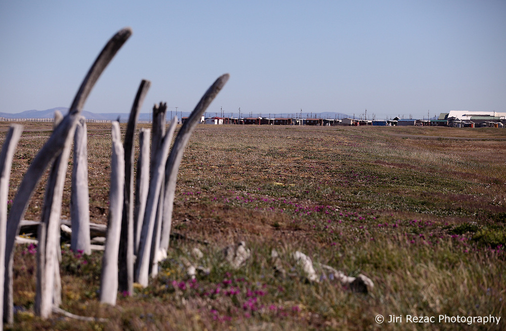 USA ALASKA POINT HOPE 22JUL12 - Point Hope cemetery on the North Slope Borough, Alaska. The cemetery fence consists of whale bones, primarily from Bowhead whales which the Eskimo people have been subsistence hunting, a central part of their culture...Point Hope is one of the oldest continually occupied sites in North America.....Photo by Jiri Rezac / Greenpeace...© Jiri Rezac / Greenpeace