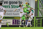 Swansea City's Aaron Lewis challenges Forest Green Rovers William Randall(19) during the EFL Trophy match between Forest Green Rovers and U21 Swansea City at the New Lawn, Forest Green, United Kingdom on 31 October 2017. Photo by Shane Healey.