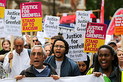 © Licensed to London News Pictures. 15/06/2019. London, UK. Hundreds of people take part in Justice for Grenfell Solidarity march in Westminster. Protestors are highlighting the lack of action by the Government following the Grenfell Tower fire, in rehousing affected families, delays in the Public Inquiry, tower blocks still covered in flammable cladding, soil contamination and the performance of Royal Borough of Kensington and Chelsea. On 14 June 2017, just before 1:00 am a fire broke out in the kitchen of the fourth floor flat at the 24-storey residential tower block in North Kensington, West London, which took the lives of 72 people. More than 70 others were injured and 223 people escaped. Photo credit: Dinendra Haria/LNP