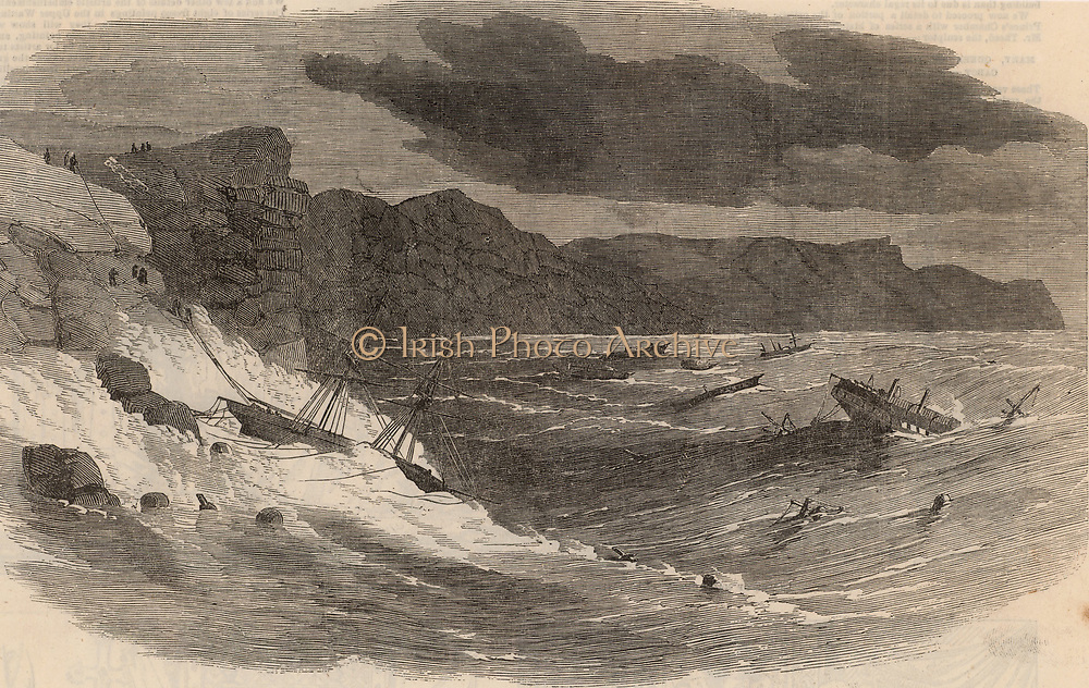 Crimean (Russo-Turkish) War 1853-1856. Wrecked  British shipping at Balaclava Bay after the great storm of 13-16 November 1854. On the left survivors from the wrecks are being hauled up the cliffs to safety.    From 'The Illustrated London News' (London, 9 December 1854). Engraving.