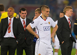 ROME, ITALY - Tuesday, May 26, 2009: Manchester United's Nemanja Vidic looks dejected after his side lose 2-0 to Barcelona during the UEFA Champions League Final at the Stadio Olimpico. (Pic by Carlo Baroncini/Propaganda)