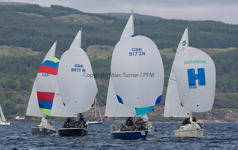 Silvers Marine Scottish Series 2017<br /> Tarbert Loch Fyne - Sailing Day 3<br /> <br /> National Sonata fleet with GBR8173N, Kalm, Steven Lyon, Cove, Sonata OD