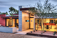 Photograph of a modern Paradise Valley, Arizona home originally designed by contemporary architect Eddie Jones in 1978. It was redesigned by Kristine Woolsey in 2005.
