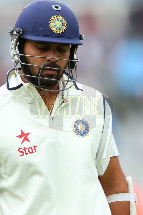 Murali Vijay of India departs during day three of the fifth Investec Test Match between England and India held at The Kia Oval cricket ground in London, England on the 17th August 2014<br /> <br /> Photo by Ron Gaunt / SPORTZPICS/ BCCI