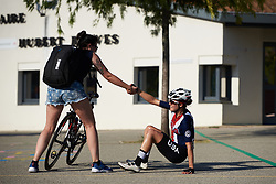 Stage winner Ruth Winder (USA) gets a helping hand after the effort at Tour Cycliste Féminin International de l'Ardèche 2018 - Stage 6, a 113.7km road race from Savasse to Montboucher sur Jabron, France on September 17, 2018. Photo by Sean Robinson/velofocus.com