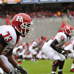 Sep 26, 2009; College Park, MD, USA; Rutgers offensive lineman Desmond Stapleton (73) warms up before Rutgers' 34-13 victory over Maryland in NCAA college football at Byrd Stadium.
