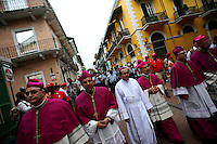 Priests walk through the streets during a procession in honor of Santa María la Antigua, the patron saint of Panama, in Panama City, Panama on Sunday, September 9, 2007. (Photo/Scott Dalton).