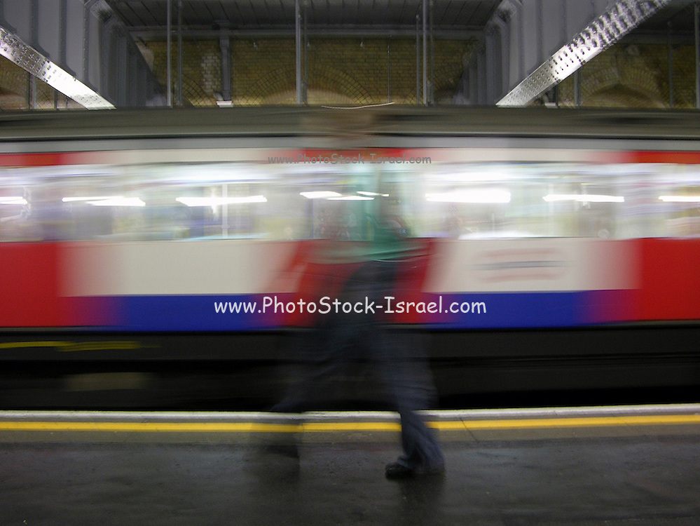 A speeding train in the London tube