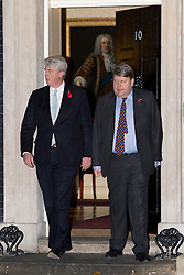 © London News Pictures. 07/11/2012. London, UK.  Leader of the House of Commons Andrew Lansey (left) and Leader of the House of Lords Lord Strathclyde (right) on Downing Street in London on November 07, 2012. Photo credit: Ben Cawthra/LNP