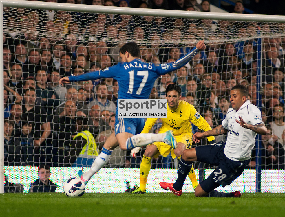 KYLE WALKER TRIES TO DISTRACT EDEN HAZARD FROM A SHOT ON GOAL - CHELSEA V TOTTENHAM 8 MAY 2013