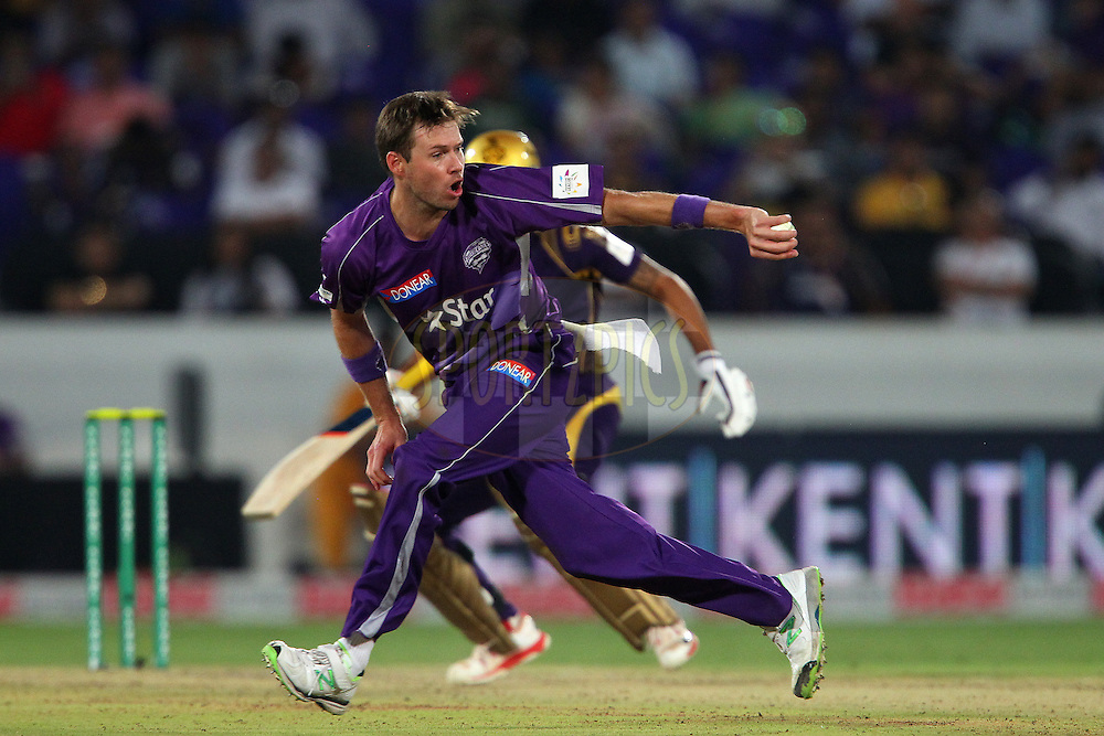 Ben LAUGHLIN of the Hobart Hurricanes fields from his own bowling during the first semi final match of the Oppo Champions League Twenty20 between the Kolkata Knight Riders and the Hobart Hurricanes held at the Rajiv Gandhi Cricket Stadium, Hyderabad, India on the 2nd October 2014<br /> <br /> Photo by:  Ron Gaunt / Sportzpics/ CLT20<br /> <br /> <br /> Image use is subject to the terms and conditions as laid out by the BCCI/ CLT20.  The terms and conditions can be downloaded here:<br /> <br /> http://sportzpics.photoshelter.com/gallery/CLT20-Image-Terms-and-Conditions-2014/G0000IfNJn535VPU/C0000QhhKadWcjYs