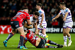 Mike Fitzgerald of Leicester Tigers is tackled - Mandatory by-line: Robbie Stephenson/JMP - 16/11/2018 - RUGBY - Kingsholm - Gloucester, England - Gloucester Rugby v Leicester Tigers - Gallagher Premiership Rugby
