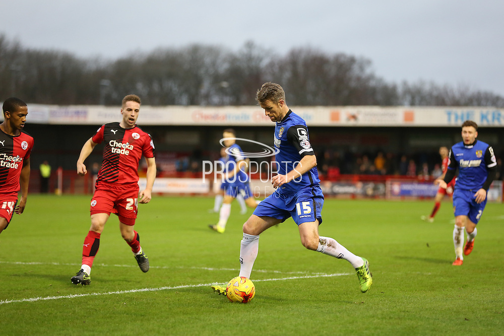 Michael Tonge of Stevenage crosses the ball during the Sky Bet League 2 match between Crawley Town and Stevenage at the Checkatrade.com Stadium, Crawley, England on 26 December 2015. Photo by Phil Duncan.