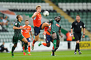Luton Town midfielder Cameron McGeehan (8) leaping for the ball ahead of Plymouth Argyle's David Ijaha (22) during the EFL Sky Bet League 2 match between Plymouth Argyle and Luton Town at Home Park, Plymouth, England on 6 August 2016. Photo by Graham Hunt.