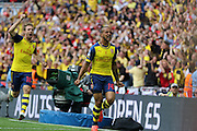 Arsenal's Theo Walcott opened the scoring and celebrates during the The FA Cup match between Arsenal and Aston Villa at Wembley Stadium, London, England on 30 May 2015. Photo by Phil Duncan.