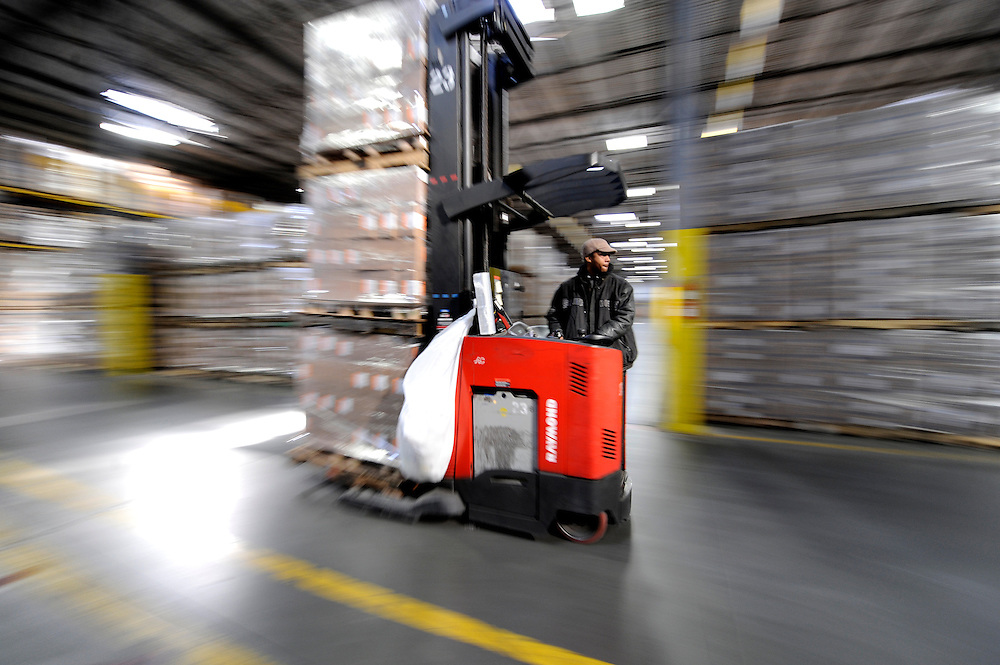 Warehouse forklift driver in a Covidien Distribution Center in Atlanta, GA