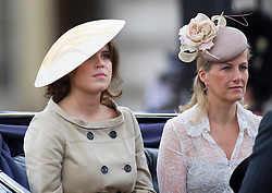 LONDON- UK - 14-JUNE-2014: The annual Trooping the Colour Ceremony for Queen Elizabeth;s Birthday is held in London. Members of the royal family travel by carriage from Buckingham Palace to Horseguards Parade for the Trooping Ceremony.<br /> Princess Eugenie and The Countess of Wessex<br /> Photograph by Ian Jones