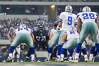 06 November 2011: Defensive tackle (92) Brandon Mebane of the Seattle Seahawks lines up across from (9) Tony Romo of the Dallas Cowboys during the first half of the Cowboys 23-13 victory over the Seahawks at Cowboy Stadium in Arlington, TX.