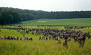 """Bad Doberan   June 6, 2007 . .Protest gegen den G8-Gipfel Heiligendamm, Tag 5: Heute gelingt es etwa 10000 Menschen, durch Strassenblockaden die Zufahrten zu dem umz?unten Sicherheitsbereich von Heiligendamm zu blockieren. An der Blockadestelle Pferderennbahn fanden sich etwa 4000 Menschen zusammen. Hier: Mehrere tausend Aktivisten auf dem Weg zum Blockadepunkt...Protests against the G8-Summit Heiligendamm, Day 5: Today about 10000 people manage to block the roads to the Heiligendamm security aerea, about 4000 of them gather for the blockade at the checkpoint """"Pferderennbahn"""". Here: Several thousand activists on their way to the blocking point...[Inhaltsveraendernde Manipulation des Fotos nur nach ausdruecklicher Genehmigung des Fotografen. Vereinbarungen ueber Abtretung von Persoenlichkeitsrechten/Model Release der abgebildeten Person/Personen liegen nicht vor.]"""