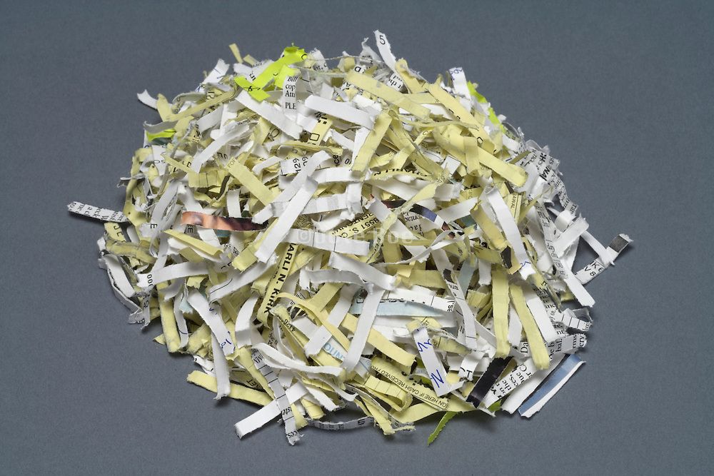 heap of bank paper shreds
