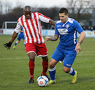 Frank Sinclair of Brackley Town and Danny Crow of Lowestoft Town during the Conference North match at St. James Park, Brackley<br /> Picture by David Horn/Focus Images Ltd +44 7545 970036<br /> 24/01/2015