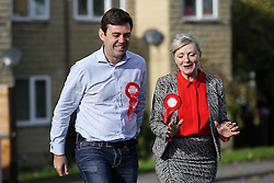 © Licensed to London News Pictures. 20/10/2016. Birstall, UK. Labour's candidate for the Batley and Spen by-election Tracy Brabin out campaigning with Andy Burnham MP for Leigh in Heckmondwike, West Yorkshire, as the polls open for voters. The by-election was triggered after the tragic murder of Labour MP Jo Cox in the town of Birstall. Labour candidate Tracy Brabin is expected to win the seat uncontested by the Conservatives and Liberal Democrats. Photo credit : Ian Hinchliffe/LNP