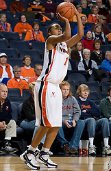 Virginia forward Lyndra Littles (1) lines up for a shot against Davidson.  The Virginia Cavaliers women's basketball team defeated the Davidson Wildcats 83-68 at the John Paul Jones Arena in Charlottesville, VA on December 20, 2007.