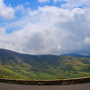 """""""Curving the View""""<br /> <br /> Beautiful curve of the stone wall set against the backdrop of the Blue Ridge Mountains!<br /> <br /> The Blue Ridge Mountains by Rachel Cohen"""