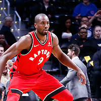 01 November 2017: Toronto Raptors forward Serge Ibaka (9) is seen on defense during the Denver Nuggets 129-111 victory over the Toronto Raptors, at the Pepsi Center, Denver, Colorado, USA.