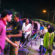 Dhaka, Bangladesh. Dhaka is the capital of Bangladesh and one of the world's mega cities with more than 15 mill inhabitants. Night time, electricity is scarce and often intermittent.