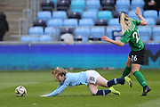 Manchester City Women's Lauren Hemp (15) is brought down by Brighton Womens defender (26) Elanor Hack during the FA Women's Super League match between Manchester City Women and Brighton and Hove Albion Women at the Sport City Academy Stadium, Manchester, United Kingdom on 27 January 2019.
